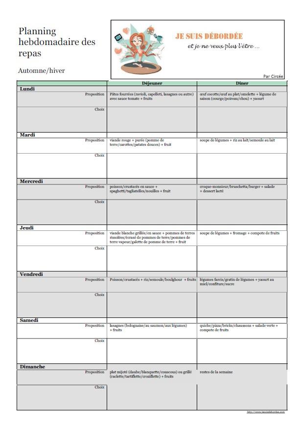 [Cuisine] Organiser des menus types par semaine : automne/hiver