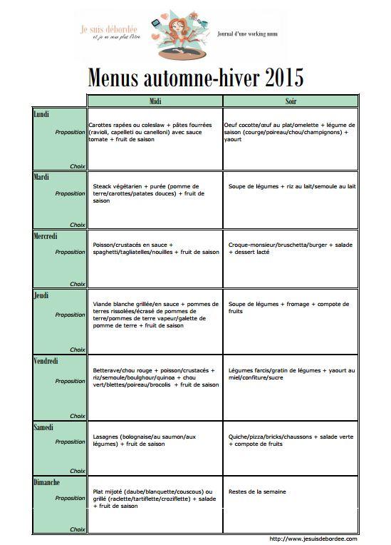 Les menus pour l 39 automne hiver sont arriv s je suis d bord e - Regime facile et efficace ...