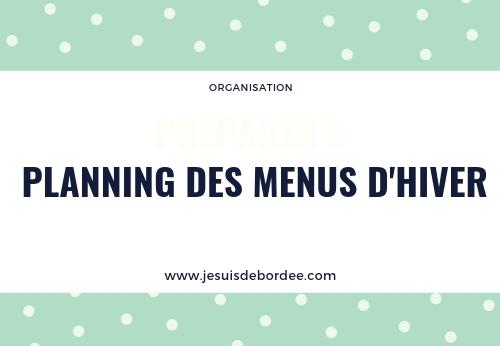 Le planning des menus d'hiver 2018/2019