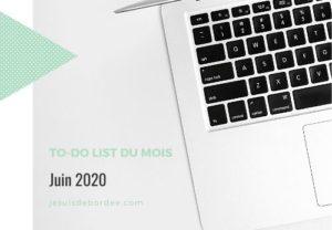 To-do list de juin 2020