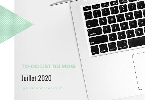 To-do list de juillet 2020