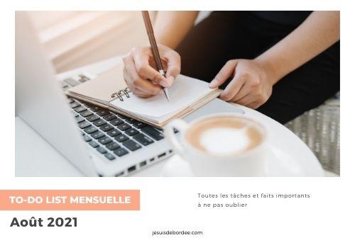 To-do List d'août 2021